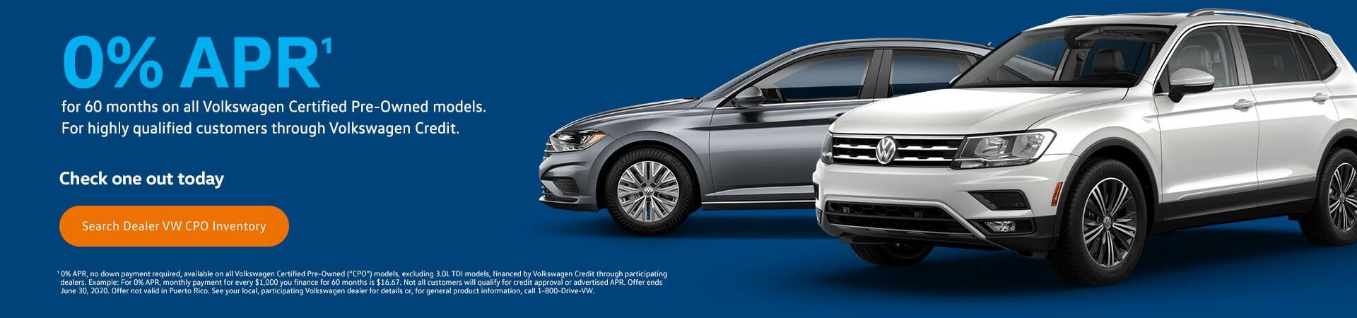 0% APR on VW CPO models